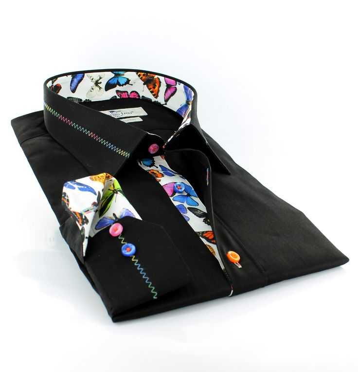 Claudio lugli Italian shirt with butterfly print inside collar, cuffs and inner placket. Now in store at statu@bl5