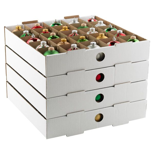 corrugated ornament storage trays hold 100 ornaments 1899 organize pinterest ornament storage ornaments and holiday storage