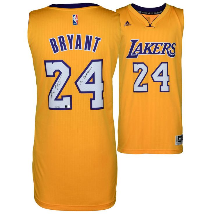 Kobe Bryant Los Angeles Lakers Autographed Gold Adidas Swingman Jersey with 20 Seasons Inscription - Panini