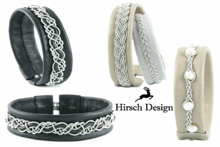 Lederarmband mit Süßwasserperlen, Sami Armband von Hirsch-Design auf DaWanda.com