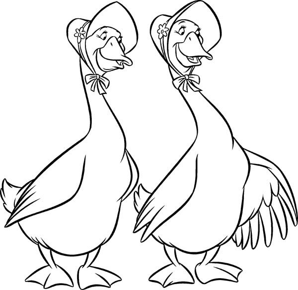 Aristocats Geese Abigail And Amelia In Goose Coloring Page