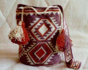 Large Mochila Bag wayuu tecnique , large woven beach bag,large bucket bag, indigenous bag,Brown-yellow-orange bag