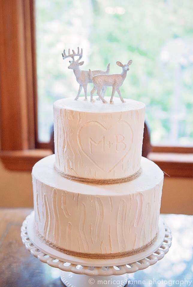 White tree and silver deer topper 2 tier wedding cake from Dream Cakes located in Portland Oregon rustic