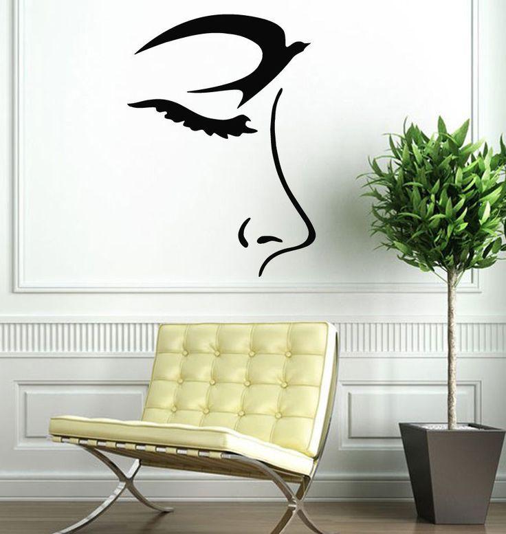 Wall Decals Vinyl Decal Sticker Art Mural Decor Girl Face Profile Bird Eye Kj485