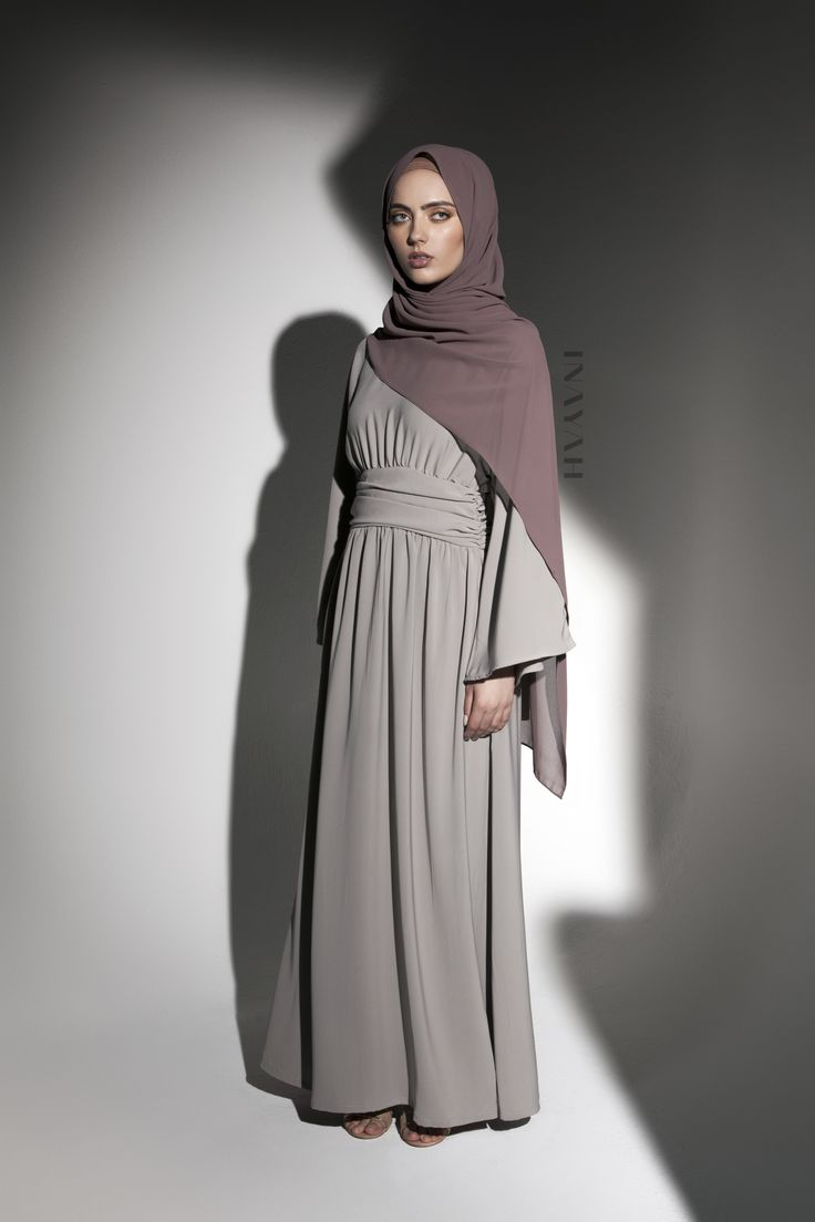 INAYAH | A tribute to classy and elegant tones with leading-edge style - Flint Grey #Kimono with Basque Detail + Dusty Ash Soft Crepe #Hijab - www.inayah.co