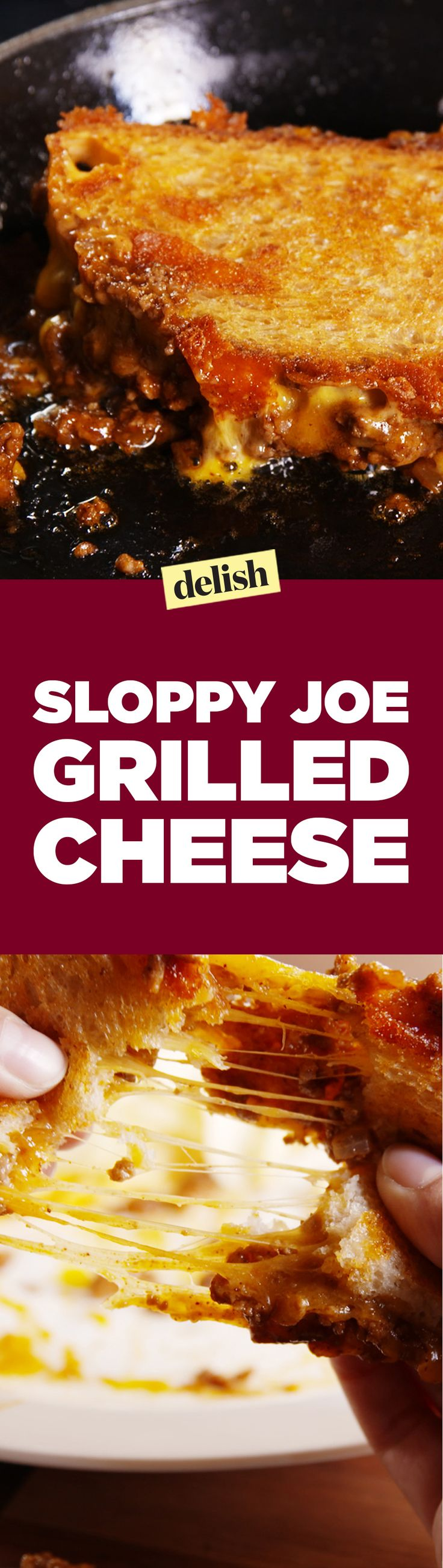 This sloppy joe grilled cheese is what happens when your two favorite childhood sandwiches become one. Get the recipe on Delish.com.