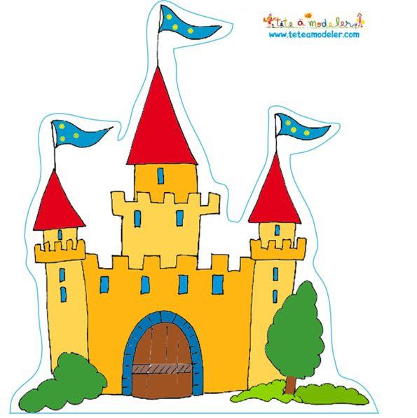 coloriage Château de chevalier jaune et rouge