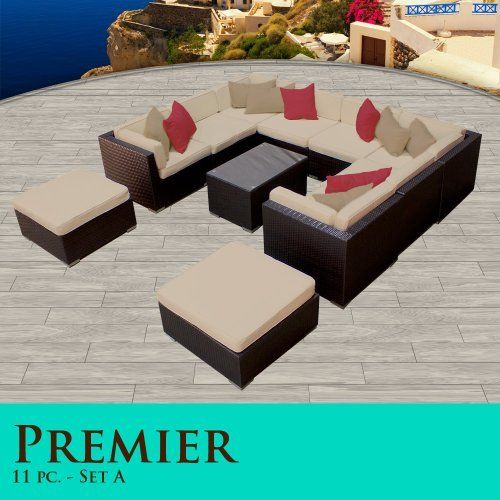 Premier Modern 11 Piece Outdoor Wicker Patio Sofa Sectional Furniture All Weather Set 11A by TK Classics. $2054.00. High Density PE (polyethylene) recyclable wicker - NOT made with PVC which is toxic and non-recyclable. Zippered cushion covers made with Outdoor UV Protected Fabric - Removable and Washable. Strong and rust resistant Powder Coated Aluminum Frame for maximum durability. Affordable and comfortable Modular Furniture allows for endless arrangement po...