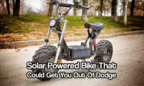 Solar Powered Bike That Could Get You Out Of Dodge. As it is solar powered it is silent and surprisingly speedy and fitted with 8-inch thick tires.