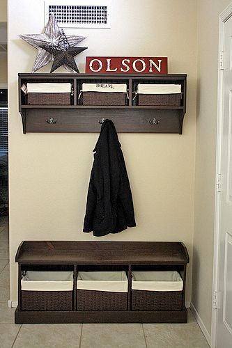 15 DIY Entryway Bench Projects • Tons of Ideas and Tutorials! Including, from 'ana white', this wonderful diy entryway storage bench.