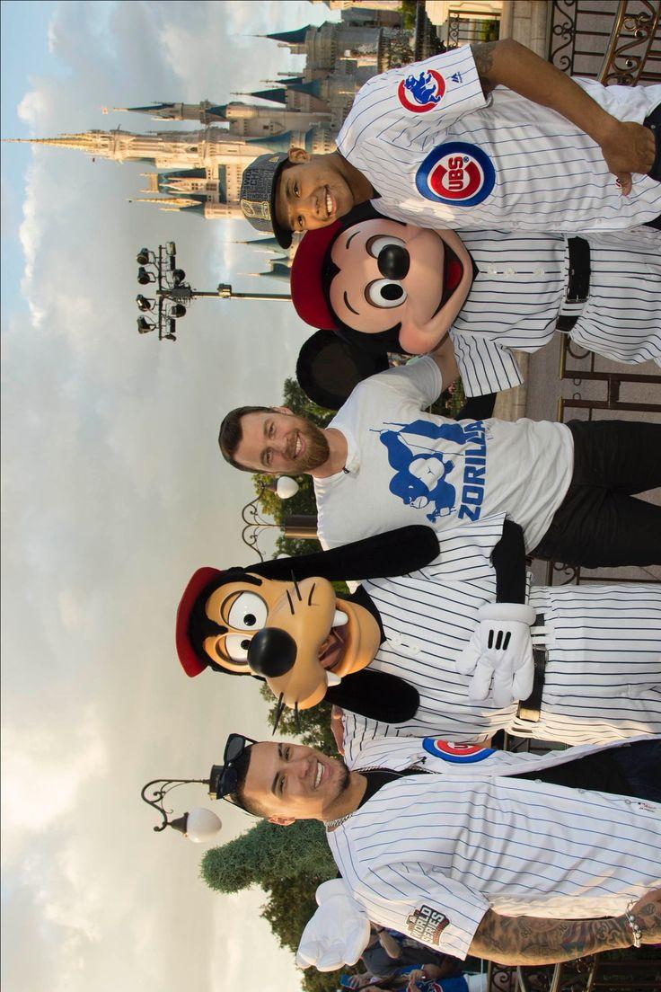 Chicago Cubs. Javier Baez. Goofy. Ben Zobrist. Mickey Mouse. Addison Russell. November 7, 2016. Walt Disney World.