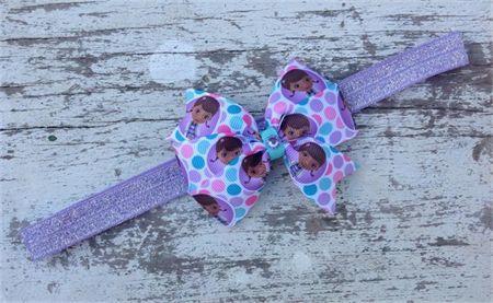 "3.5"" Doc McStuffins Bow Hair Clip & Interchangeable FOE Headband"