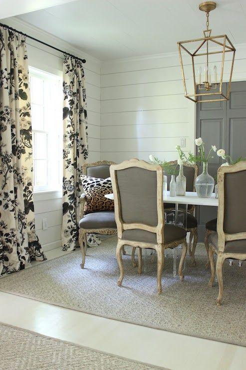 Sherry Hart Designs - dining rooms - Benjamin Moore - Granite - paneled dining room, dining room paneling, gilded iron lantern, dining room ...