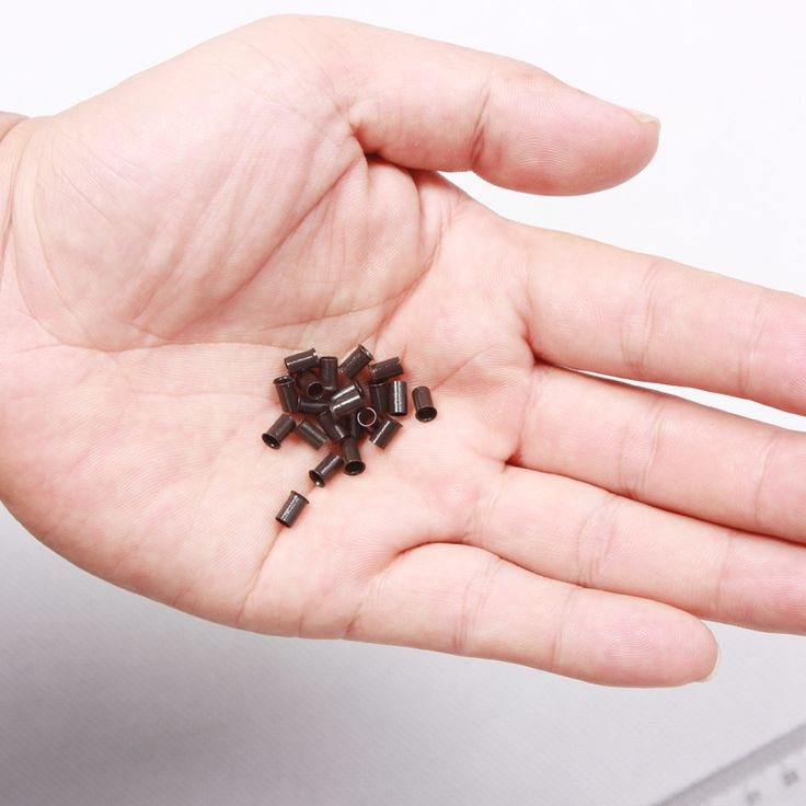 1000 pcs 3.4*3.0*6mm 3.5mm flare euro kunci tembaga tabung micro rings link beads untuk tongkat I tip rambut ekstensi 3 # coklat gelap