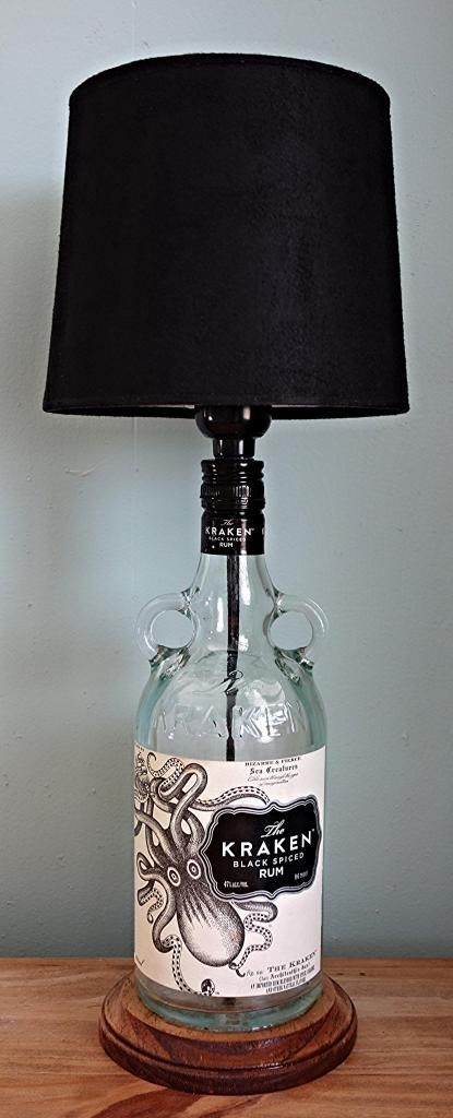 The Kraken Black Spiced Rum Liquor Bottle Lamp by LicenseToCraft, $35.00