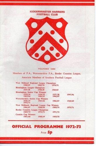 Away vs Kidderminster Harriers , Kings Lynn FC 1972 Southern League