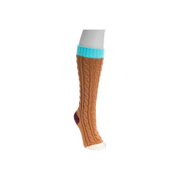 Women's MUK LUKS Mid Calf Socks (82 BRL) ❤ liked on Polyvore featuring intimates, hosiery, socks, brown, casual footwear, casual socks, mid calf socks, calf length socks, brown socks and fancy socks