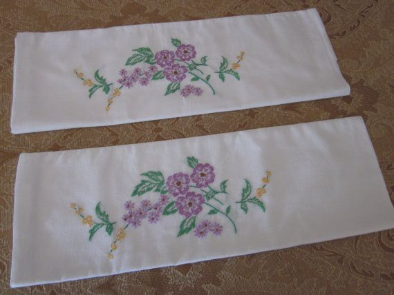 Embroidered Pillow Cases with Lavender Flowers by GypsyNotions, $16.00
