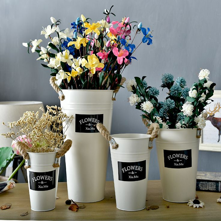 Корейская белая линия (му Xia) жестяной цилиндр континентального французские цветы флориста Цветочные горшки декоративные сухих цветов ведра
