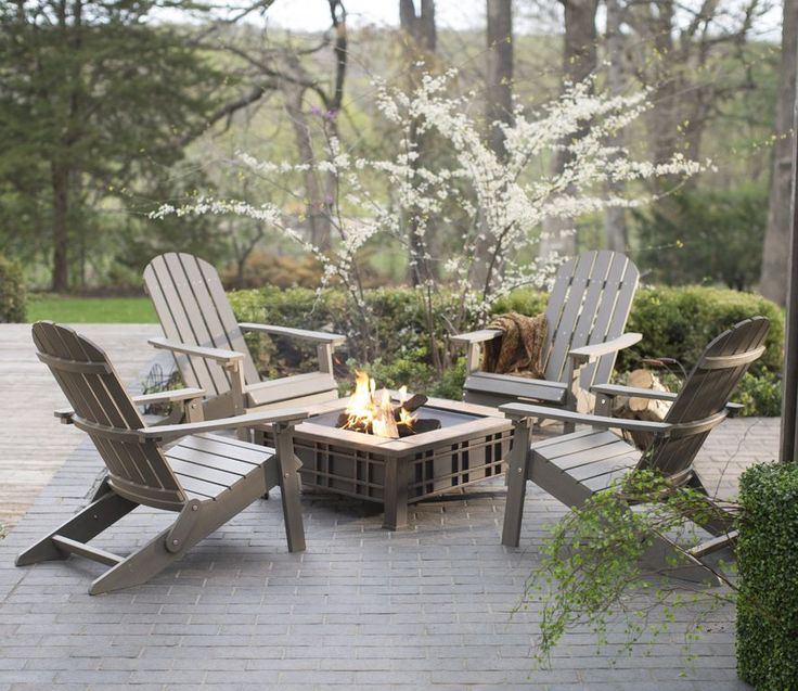 Transitional Patio with Coral Coast All Weather Resin Wood Adirondack Chair - Gray, exterior stone floors, Fire pit