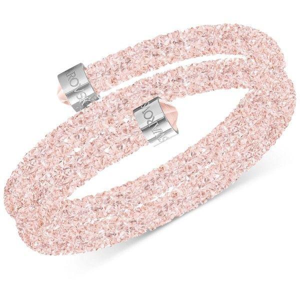 Swarovski Crystaldust Wrap Bracelet (5,930 INR) ❤ liked on Polyvore featuring jewelry, bracelets, rose pink, swarovski jewellery, swarovski bangle, pink bangles, rose jewelry and rose jewellery