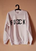Bluza z napisem FUCK chanelkowym: Bądź Rozważnym, Sprzedawaj Lub, Rozważnym Konsumentem, Oddawaj Niepotrzebn, Niepotrzebn Ubrania, Lub Oddawaj, Fucking Chanelkowym, Napisem Fucking
