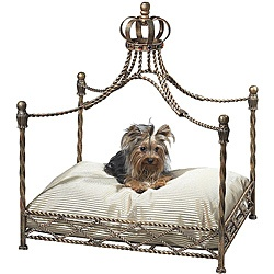 @Overstock - Your small four-legged friend will love the luxury of this antique pet bed. Hand-forged from iron and tole by master craftsmen and hand-finished in a multi-step process. This antique pet bed uses standard size bed pillow.http://www.overstock.com/Pet-Supplies/Antique-Gold-Iron-Crown-Canopy-Pet-Bed/6580841/product.html?CID=214117 $206.99