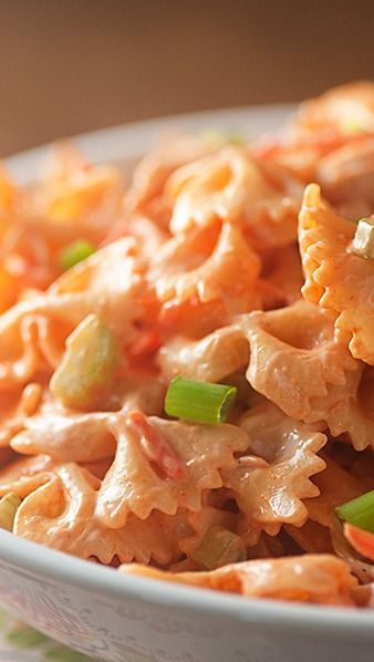 BUFFALO CHICKEN PASTA SALAD - If I make this, I will try adding bleu cheese crumbles...