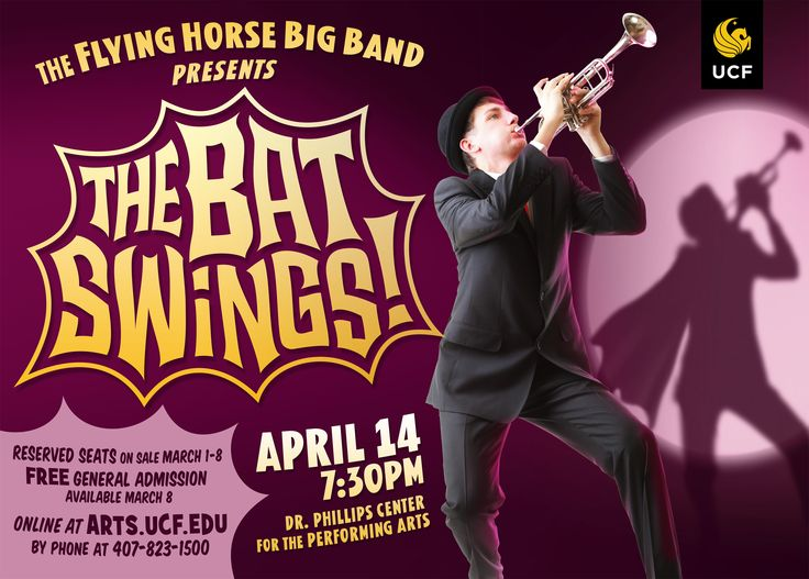 The Bat Swings! On April 14, part of UCF Celebrates the Arts 2017, The Flying Horse Big Band performs new arrangements of music from the classic Batman TV show and film starring Adam West. I got to make this swinging poster.
