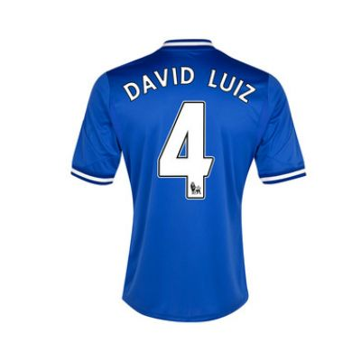 13-14 Chelsea #4 David Luiz Blue Home Soccer Jersey Shirt