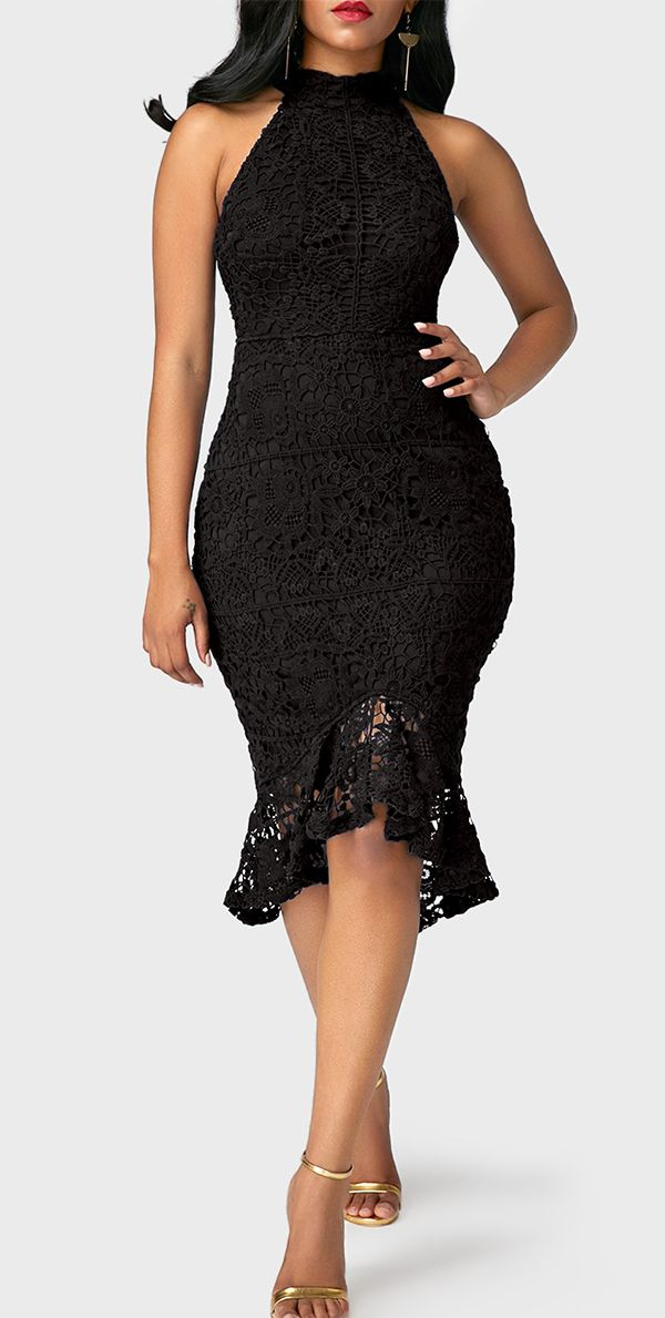 Sleeveless Frill Hem Black Sheath Lace Dress, high quality and better service at rosewe.com. check it out.