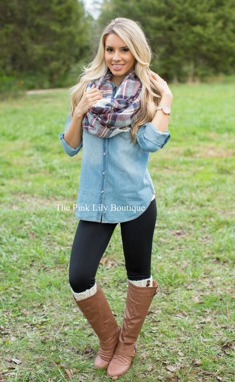 Chambray blouse, leggings and boots! We love this outfit for fall. Clothing, Shoes & Jewelry - Women - leggings outfit for women - http://amzn.to/2kxu4S1