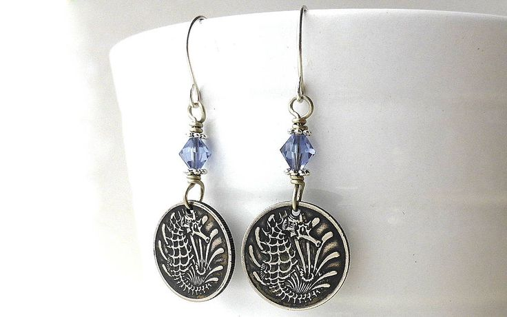 Singapore, Coin earrings, Seahorse earrings, Fish earrings, Nautical earrings, Swarovski earrings, Coin jewelry, Tanzanite crystals, Coins by CoinStories on Etsy