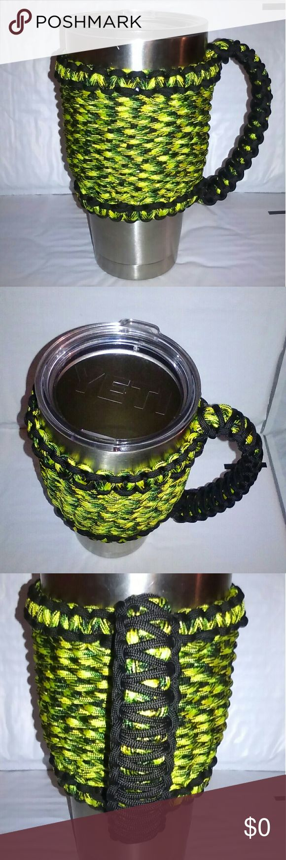 Yeti 30 oz. W/Paracord Sleeve Handle Custom order yeti 30 oz. stainless with handcrafted gecko color 550 paracord sleeve handle. yeti Accessories