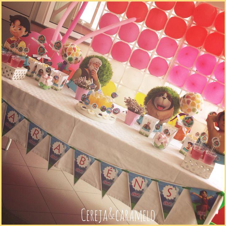 Peças decorativas festa de aniversário do tema Heidi. Bandeirolas, palhinhas, cones de pipocas, colheres...