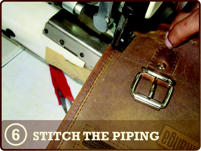 STEP 6 – STITCH PIPING - Our traditional satchel's edges are made with piping giving each bag a more finished look.