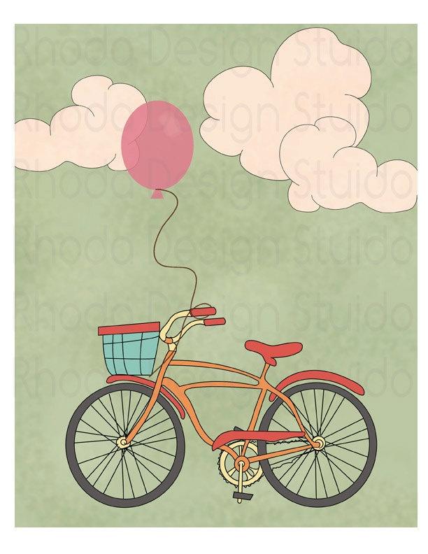 Bike Balloon Summer Days 8 x 10 print (Retro Bike Love) - Rhoda. $20.00, via Etsy.
