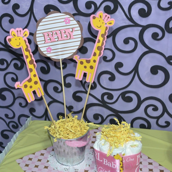 Girl Giraffe Baby Shower 3pc Set Table Topper/ Centerpieces Pink And Brown  Theme. Colors
