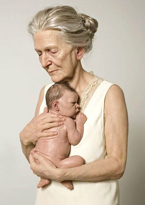 "An incredible Sam Jinks sculpture, ""Woman and Child"", 2010 (it is so difficult to believe that this isn't a photo or a painting!)"
