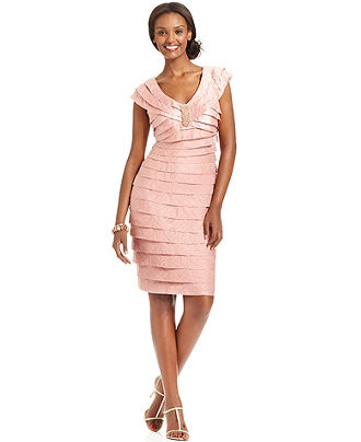 London Times Dress, Cap-Sleeve Tiered - Womens Dresses - Macy's T8 $74