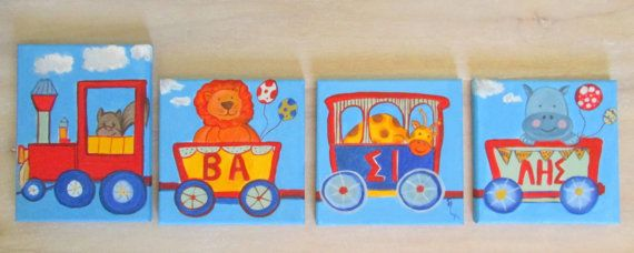 Train-Train with animals-decoration for boys room-personalised baby boy