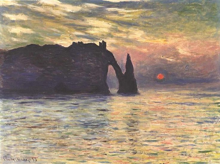 Monet - Sonnenaufgang bei Etretat  Sunset at Etretat