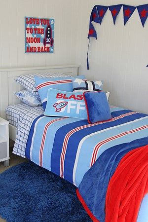 New, lively & hot-off-the-press for boys is Nautical. Fresh & fun with wide age appeal, a quilt cover of wide stripes of mid & light blue; narrower stripes of white & red. Dress up for older boys; mix with themed accessories for smaller boys. You simply can't go wrong with a wonderful mix of blues, red & white – edgy yet timeless!