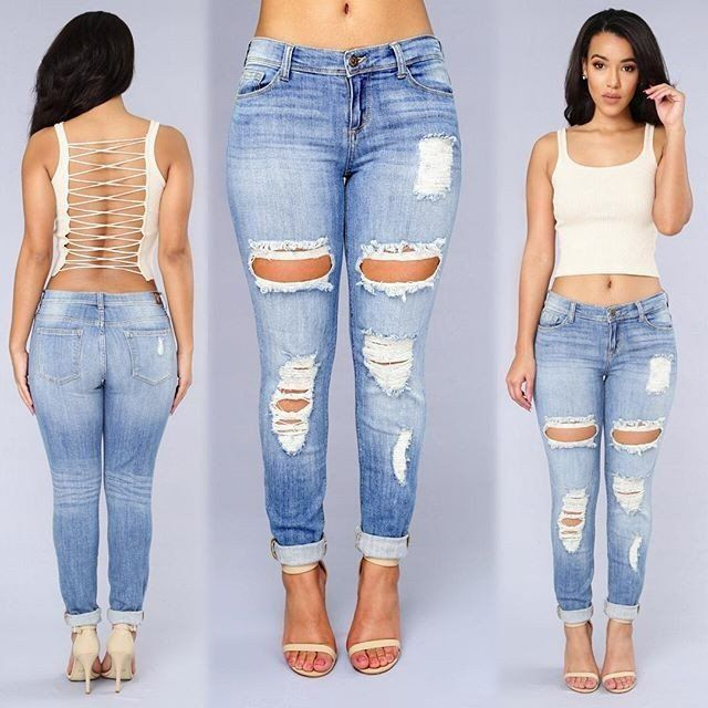 New Fashion Ripped Jeans Femme Casual Washed Holes Boyfriend Jeans for  Women Regular Long Torn Jeans Wild Denim Pants