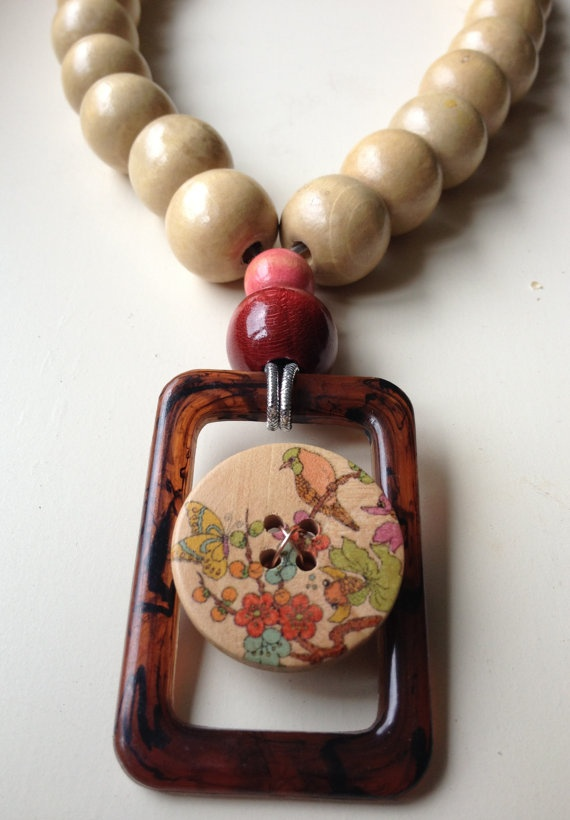 Reborn Upcycled Vintage Belt Buckle Wood Bead by thatvintagechic, $22.00