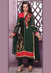 Dark Green Embroidered Straight Suit