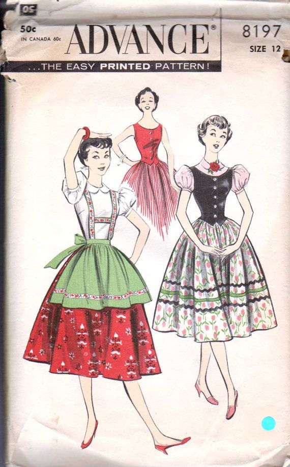 50's Sewing Pattern Tyrolean Blouse Skirt Weskit by retromonkeys, $12.00.  I actually have the red skirt depicted on the cover in that exact pattern.