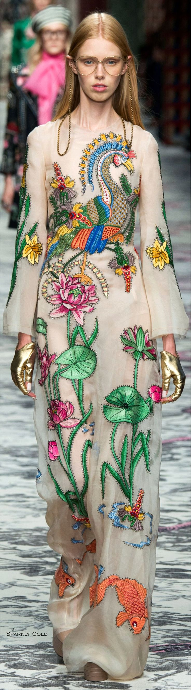 Gucci Spring 2016 - Hate the Terry Richardson glasses, long nails, and platform boots, super creepy, but gown and gloves are magic.