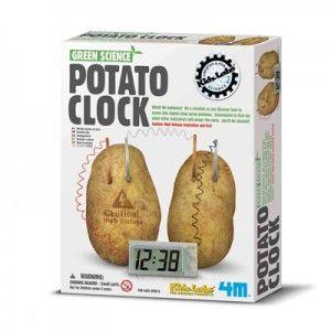 Met dit bouwpakket maak je een digitale klok die werkt op aardappelen.