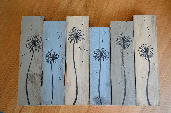 Rustic shabby chic pallet wood grey, blue, cream dandelion painting
